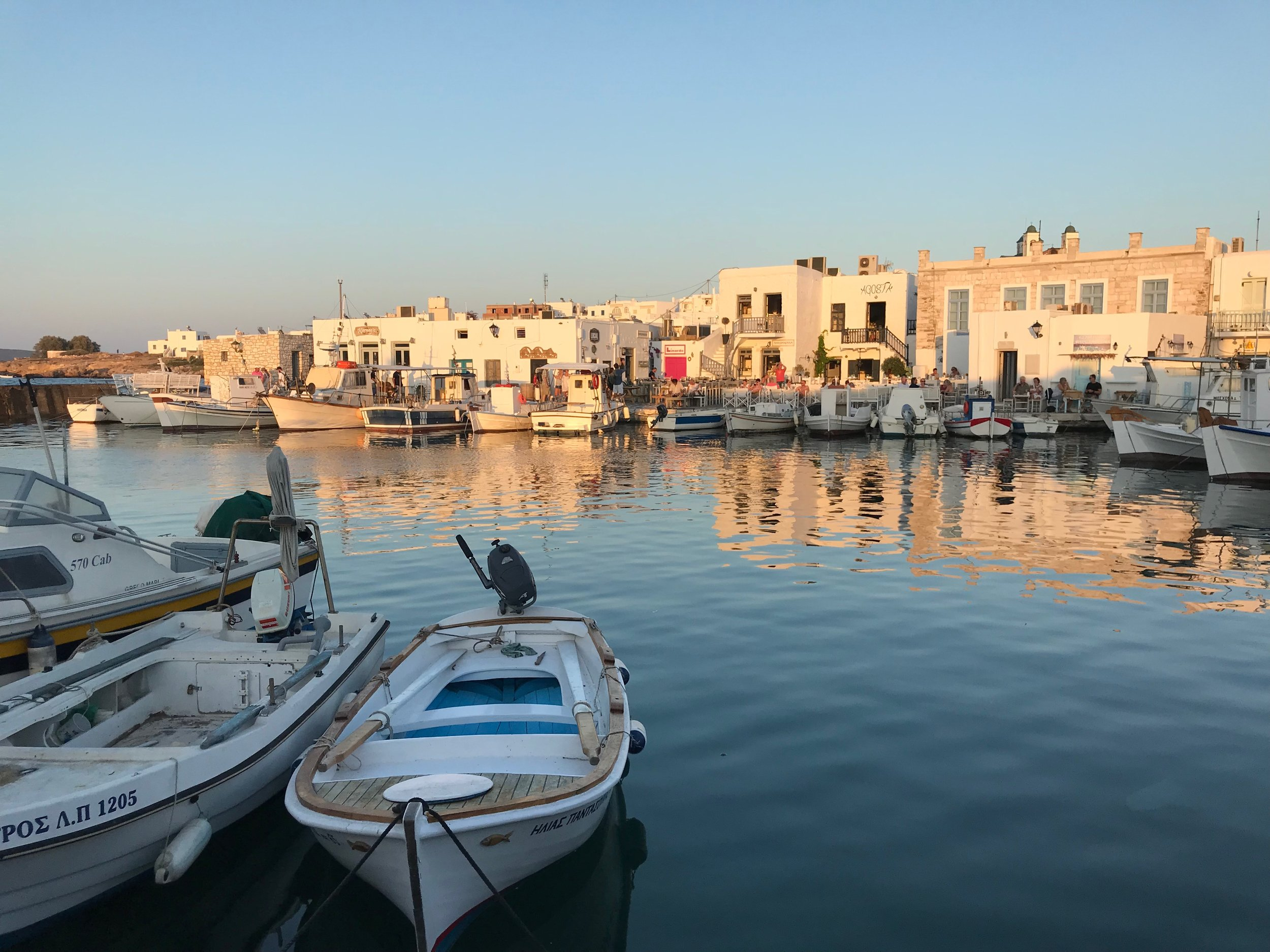 The village of Naousa in Paros…we enjoyed a delicious meal at Barbarossa Restaurant, right on the water.