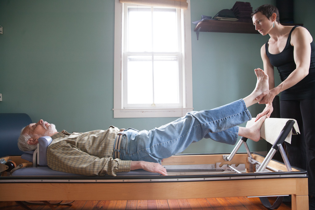 This client has been studying Pilates for over 30 years and is now in his late 80s. He does private Pilates lessons three times a week.