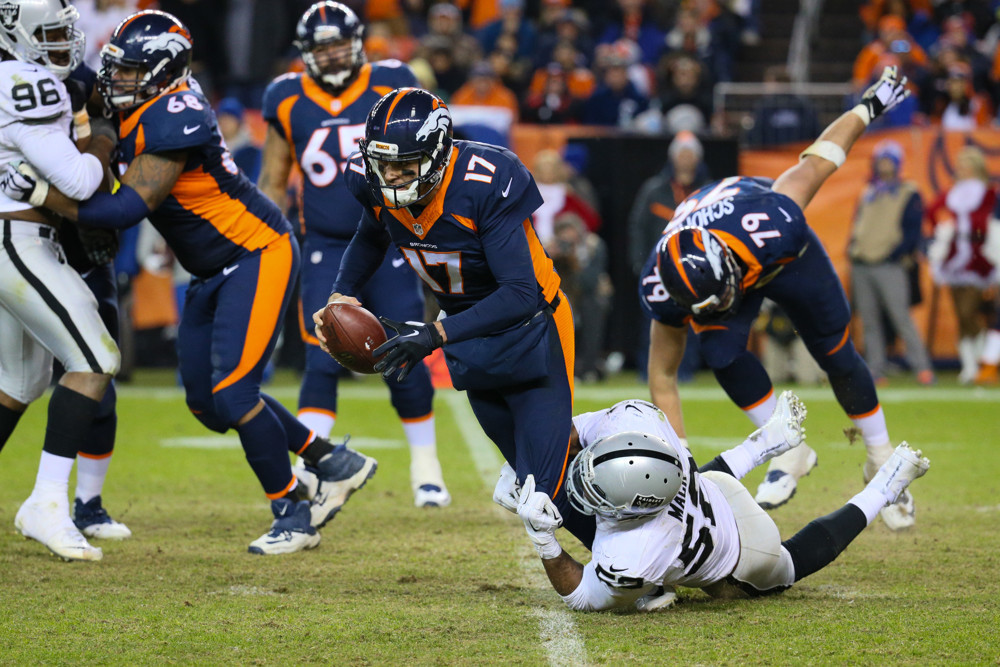 Khalil Mack takes down Brock Osweiler. Expect them to recreate this photo on Week 11's MNF