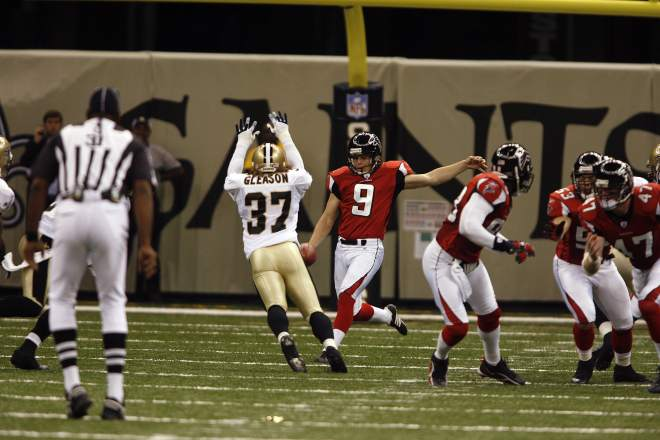 Gleason blocks Michael Koenen's punt. Koenen said he was honored to be a part of it all.