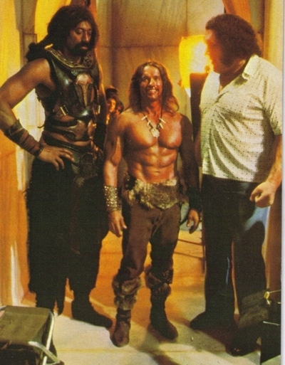 Wilt Chamberlain, Arnold Schwartzenegger, and The Giant on the set of  Jingle All the Wa -- sorry, that's  Conan the Destroyer .
