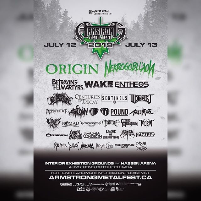 We are incredibly excited to announce that @centuriesofdecay will be playing at @armstrongmetalfest 2019!Two western Canadian festivals in two weeks! Let's do this! #centuriesofdecay #canadianmetal #deathmetal #melodicdeathmetal #progressivedeathmetal #7string #heavyaf #metalfestival #armstrongmetalfest2019