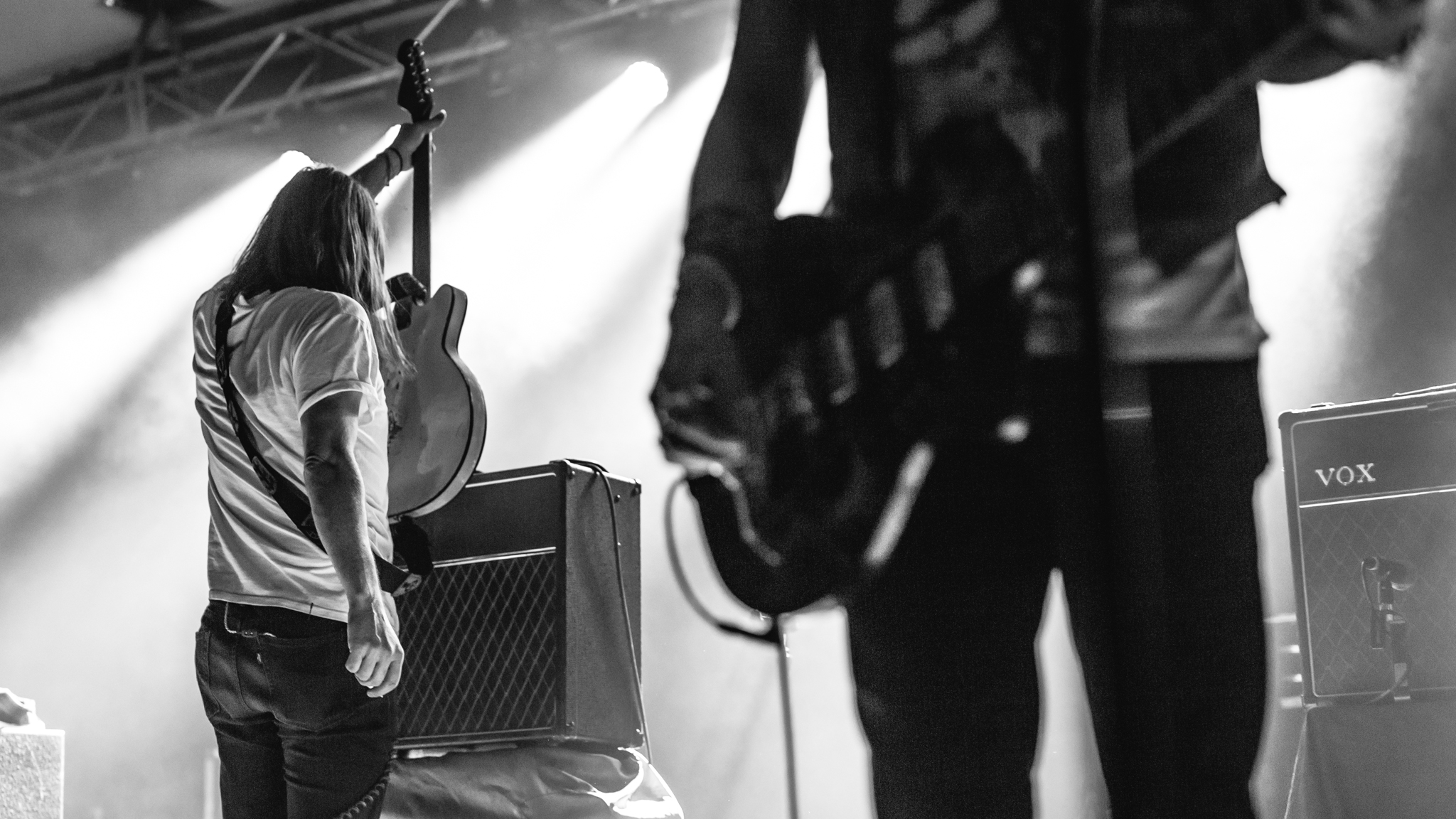 Courtney Taylor-Taylor playing up to his amp.