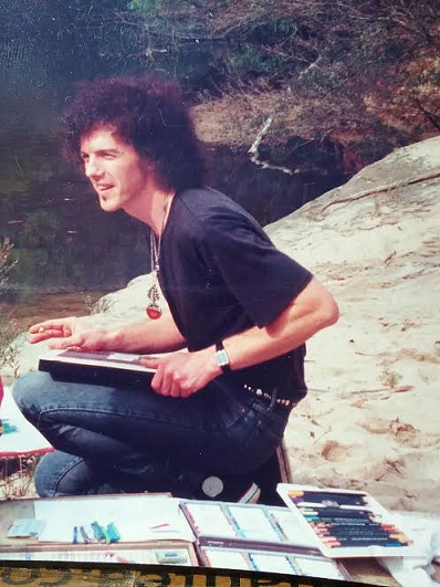 Phil drawing at a river 1991.