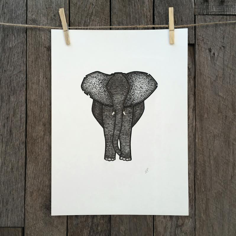 Elephant   Illustration  Prints available