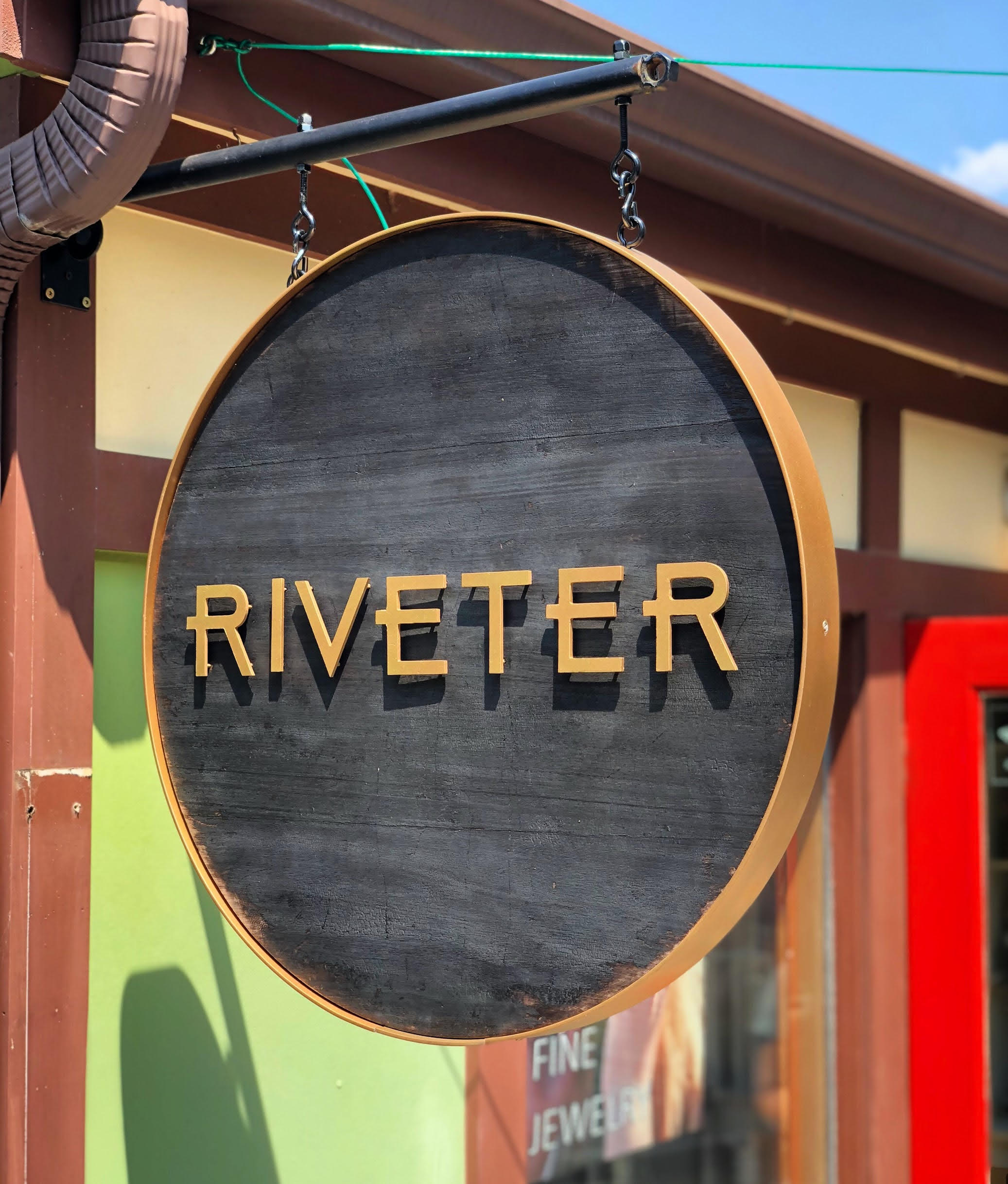 "Riveter    East Nashville, Tn  24"" x 24""  Charred Eucalyptus, Aluminum, Gold Flake, Double Sided"