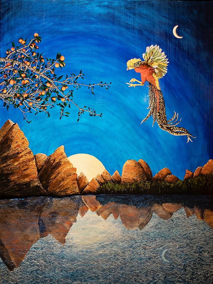 "Golden Pheasant No. 4 (Chengdu, China)   36"" x 48""  Acrylic  $8600"