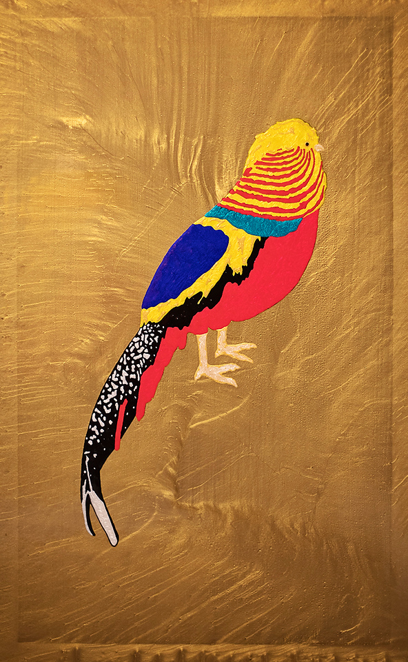 """Golden Pheasant No. 1  - Inspired by East Nashville Chinese Golden Pheasant  24"""" x 36""""  Acrylic   SOLD"""