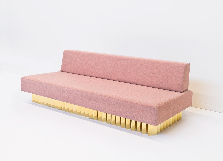 Angled Brass Bar Sofa