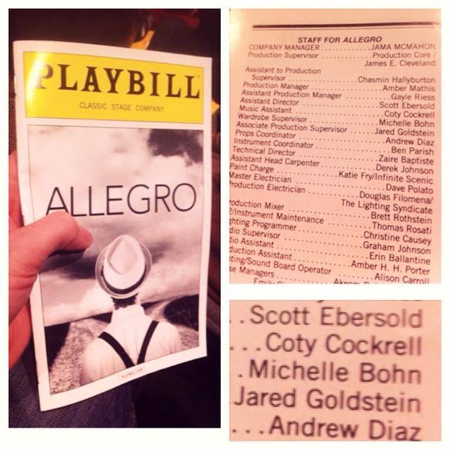 """Allegro"", Off-Broadway"