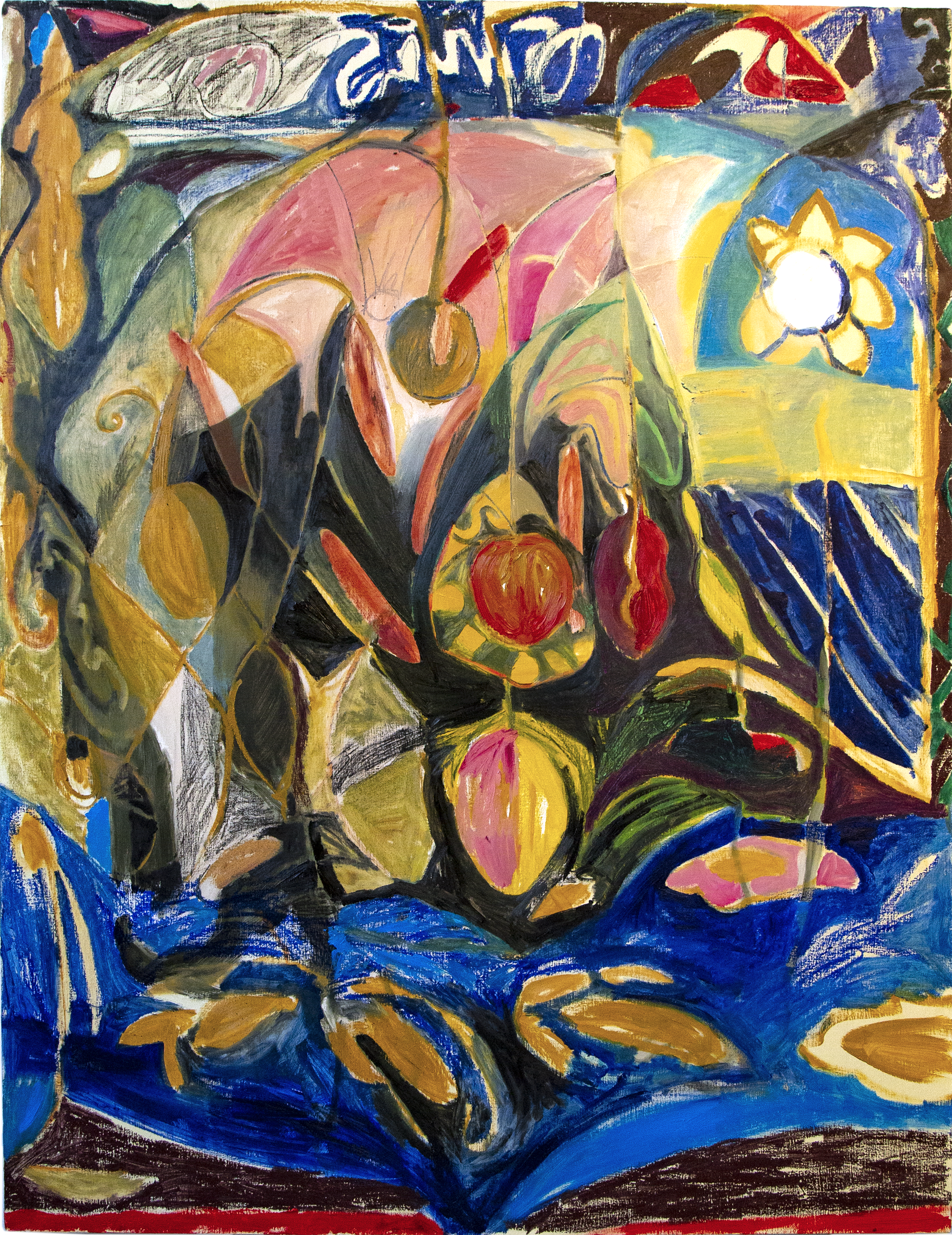 Itchy Scratchy bulrushes, oil on canvas, 170 x 140 cm, 2019.