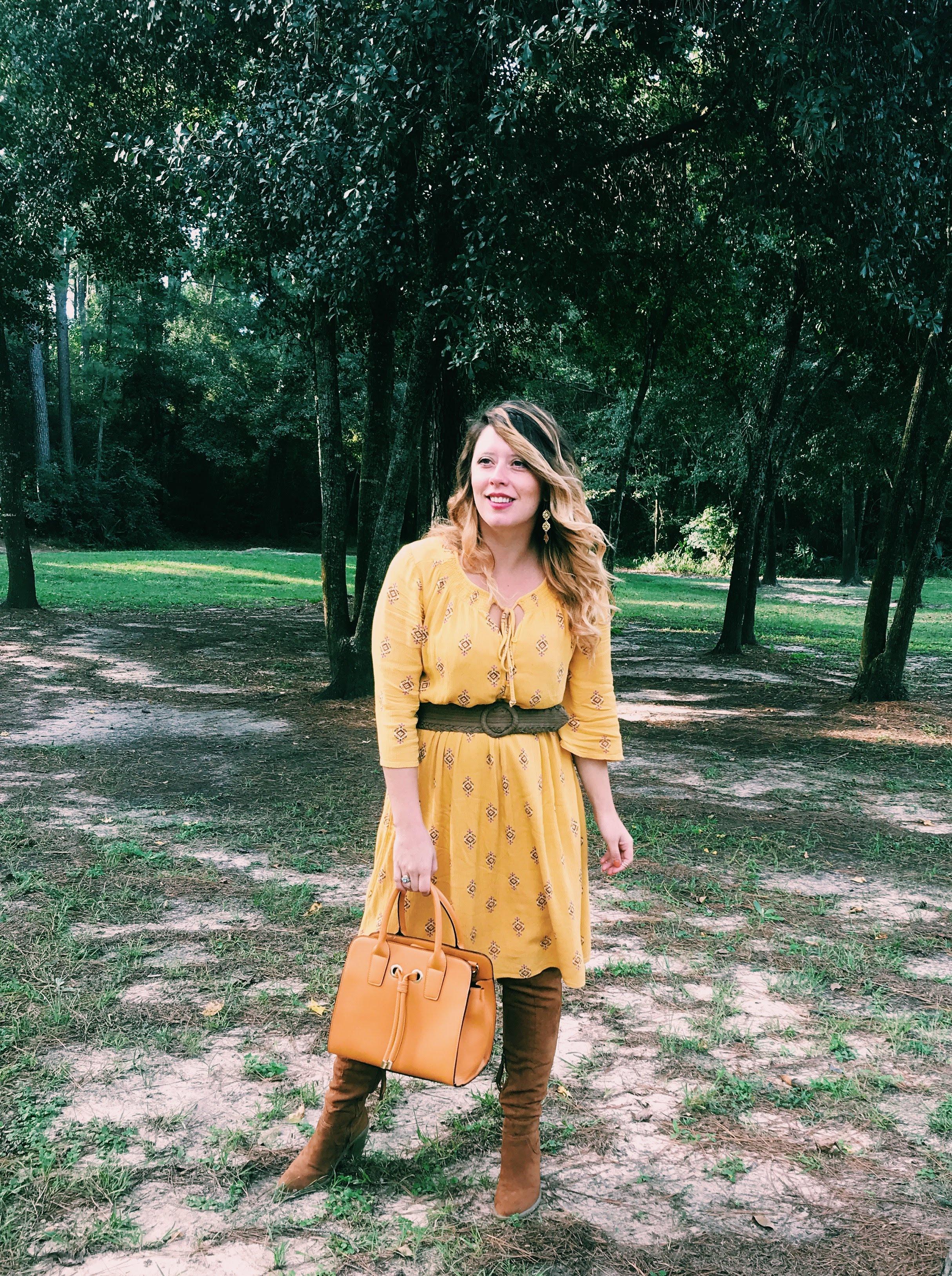 Three Heel Clicks - Mustard Dress at the Rainbow Lodge (1).jpg