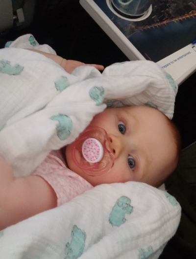 Georgia with her Pacifier on the Plane