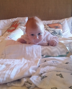Georgia practicing her tummy time in a Hotel Room on our first family vacation away!