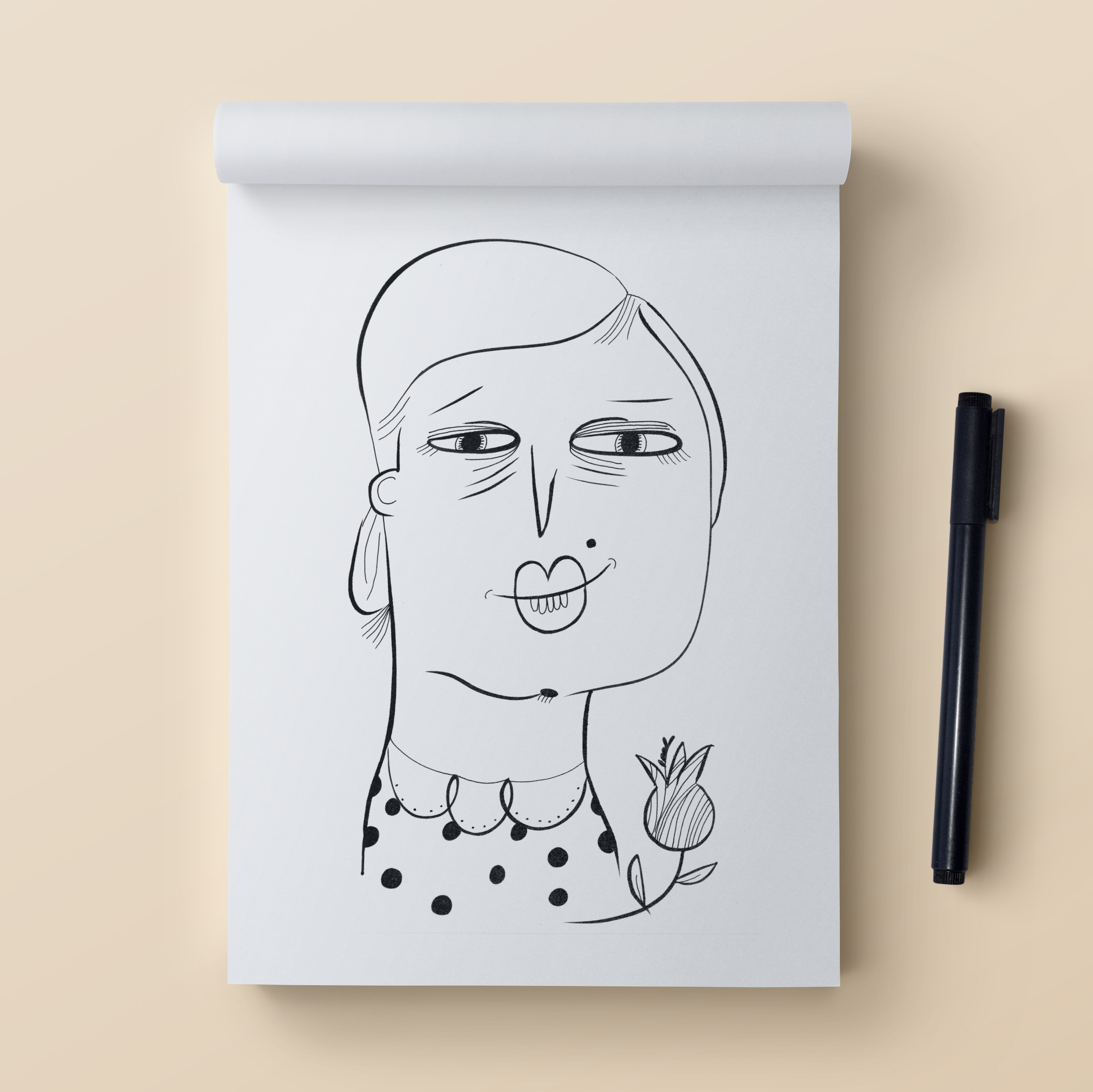 '5 Minute Face' illustration created with the Staedtler Marsgraphic 3000 Duo