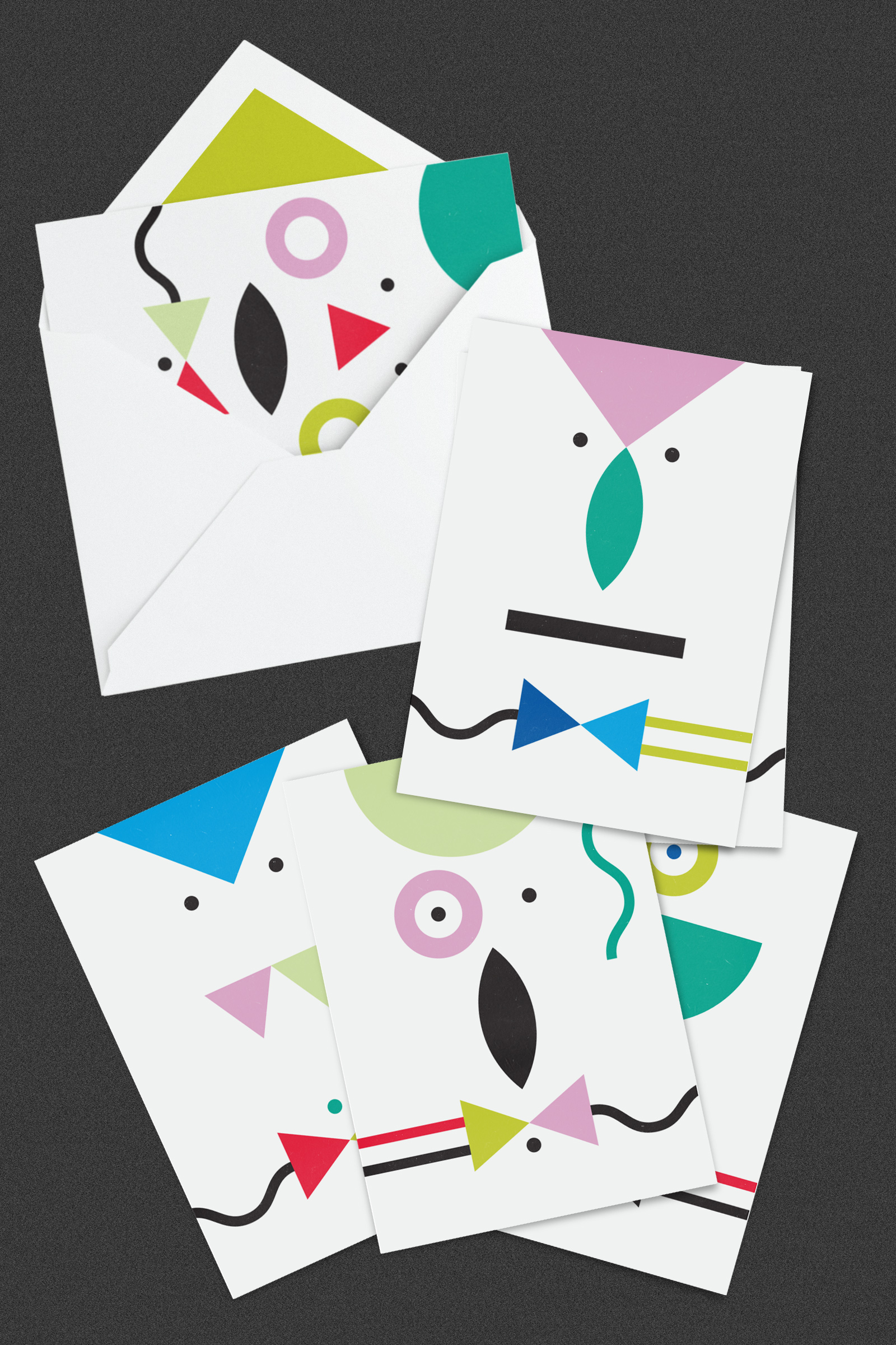 Stationery set of 6 designs with a green lining colour for the envelope