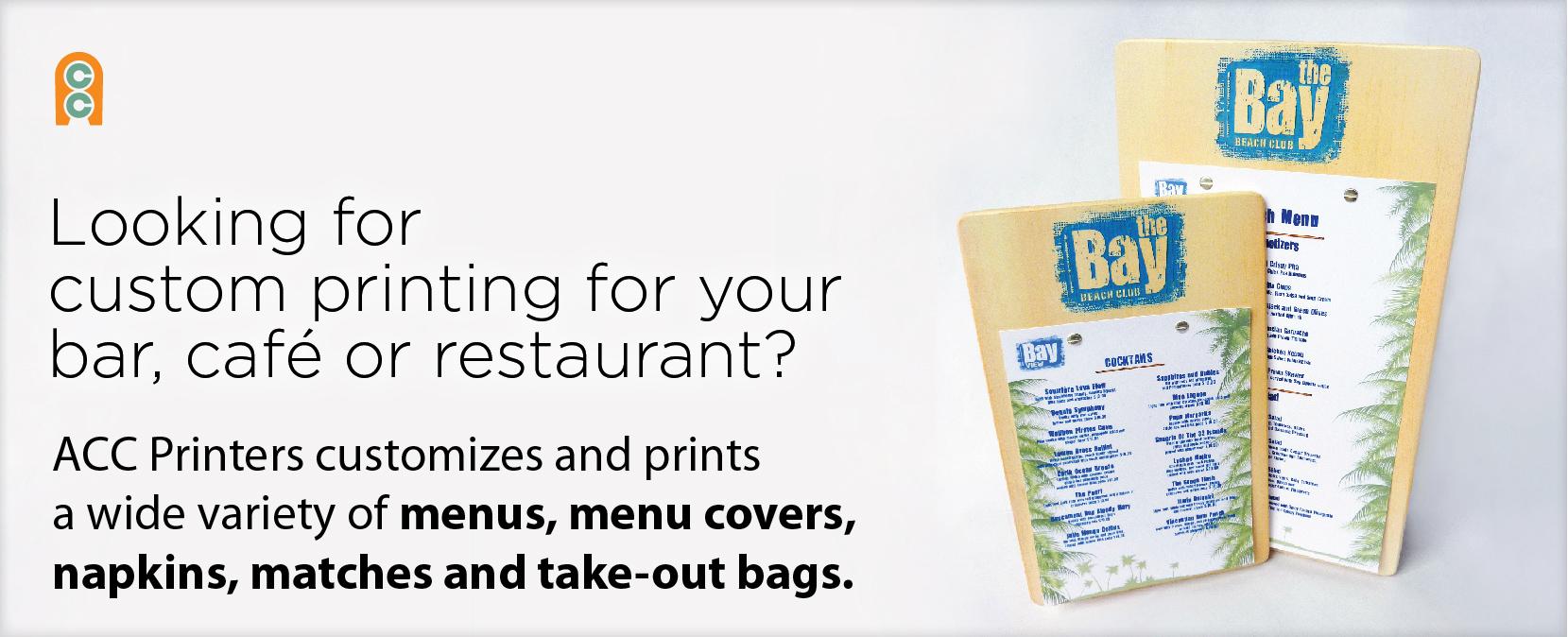 Printing for restaurants, bars, cafes. Get menus, menu covers, napkins, etc.