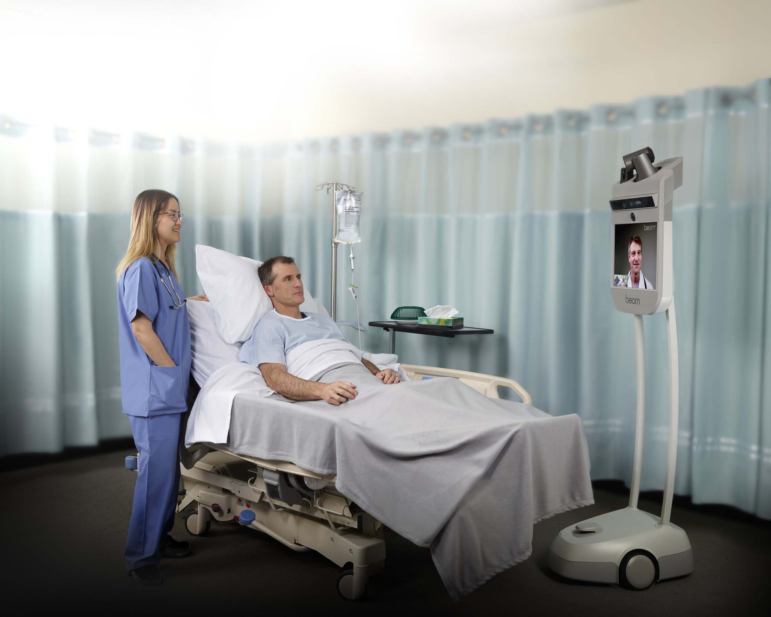 Beam Pro with optional Pan-Tilt-Zoom camera and laser pointer (PTZ+L) is perfect for healthcare