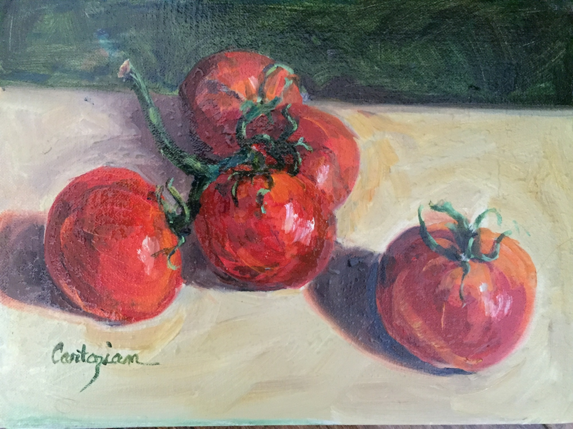 Tomatoes: 8 x 10, oil on canvas