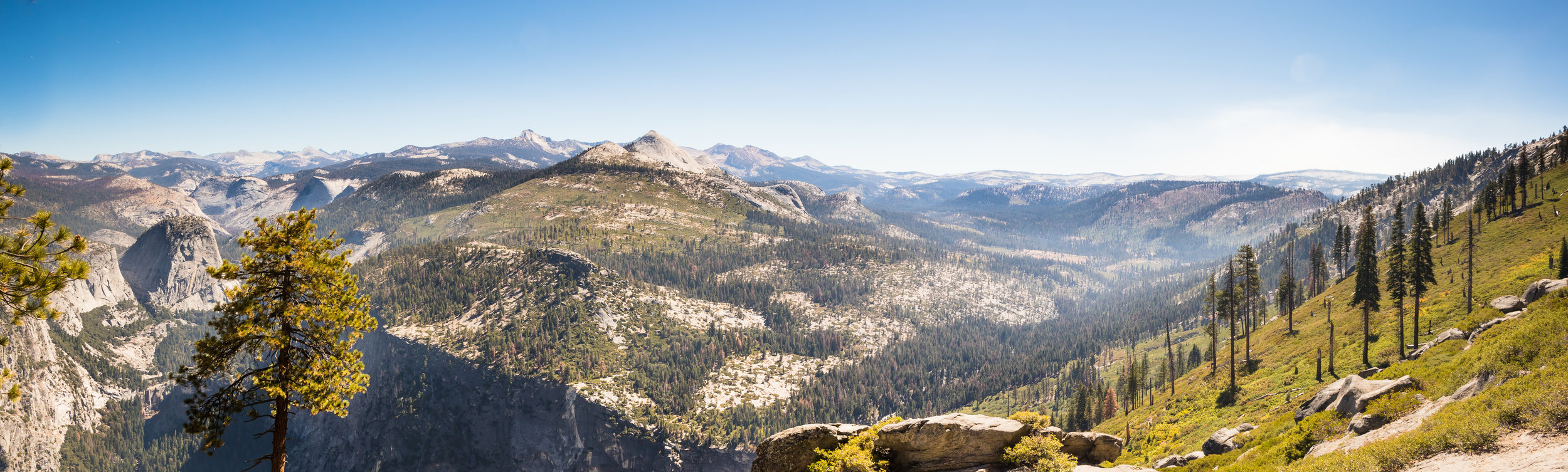 Yosemite Valley and Illilouette Valley from Washburn Point, Yosemite National Park, CA.
