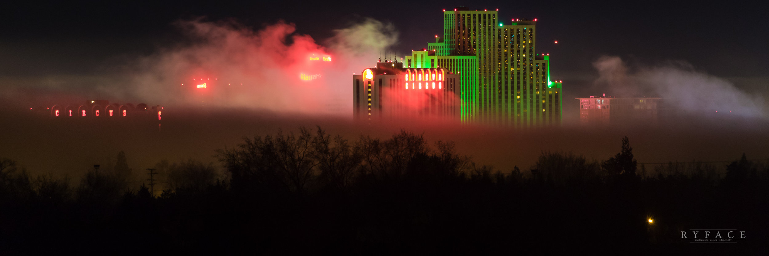 Fog settles on the downtown skyline, Reno, NV.