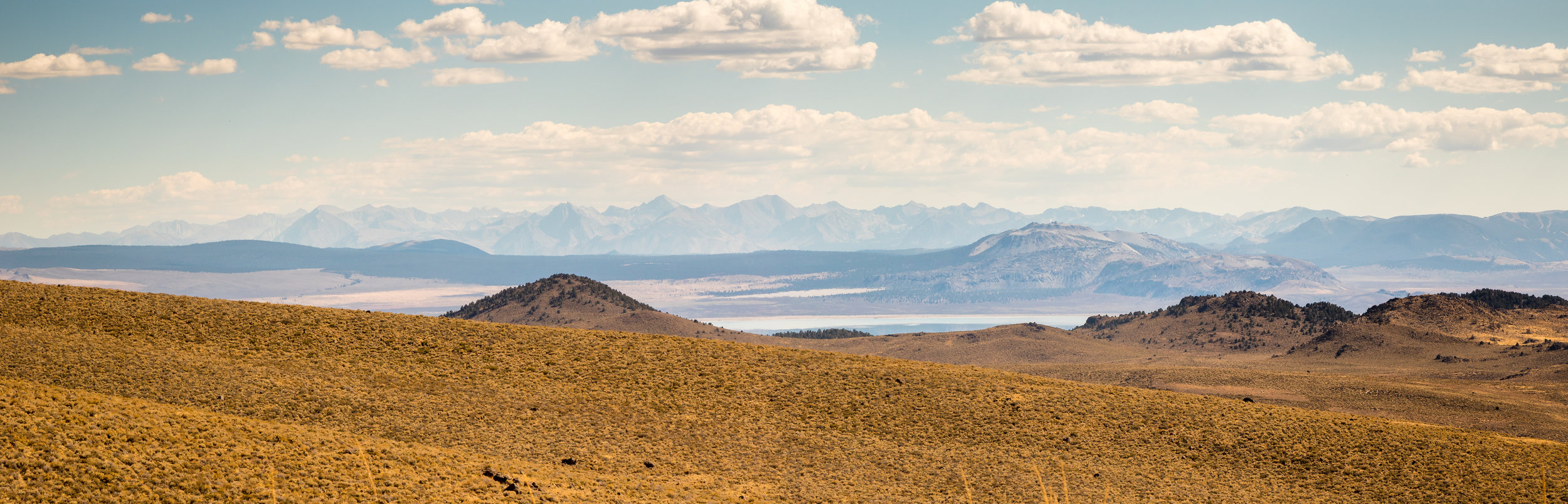 Mono Lake, Owen's Valley and the High Sierras, including Mt. Whitney. From Bodie Road looking south, Bodie, CA.