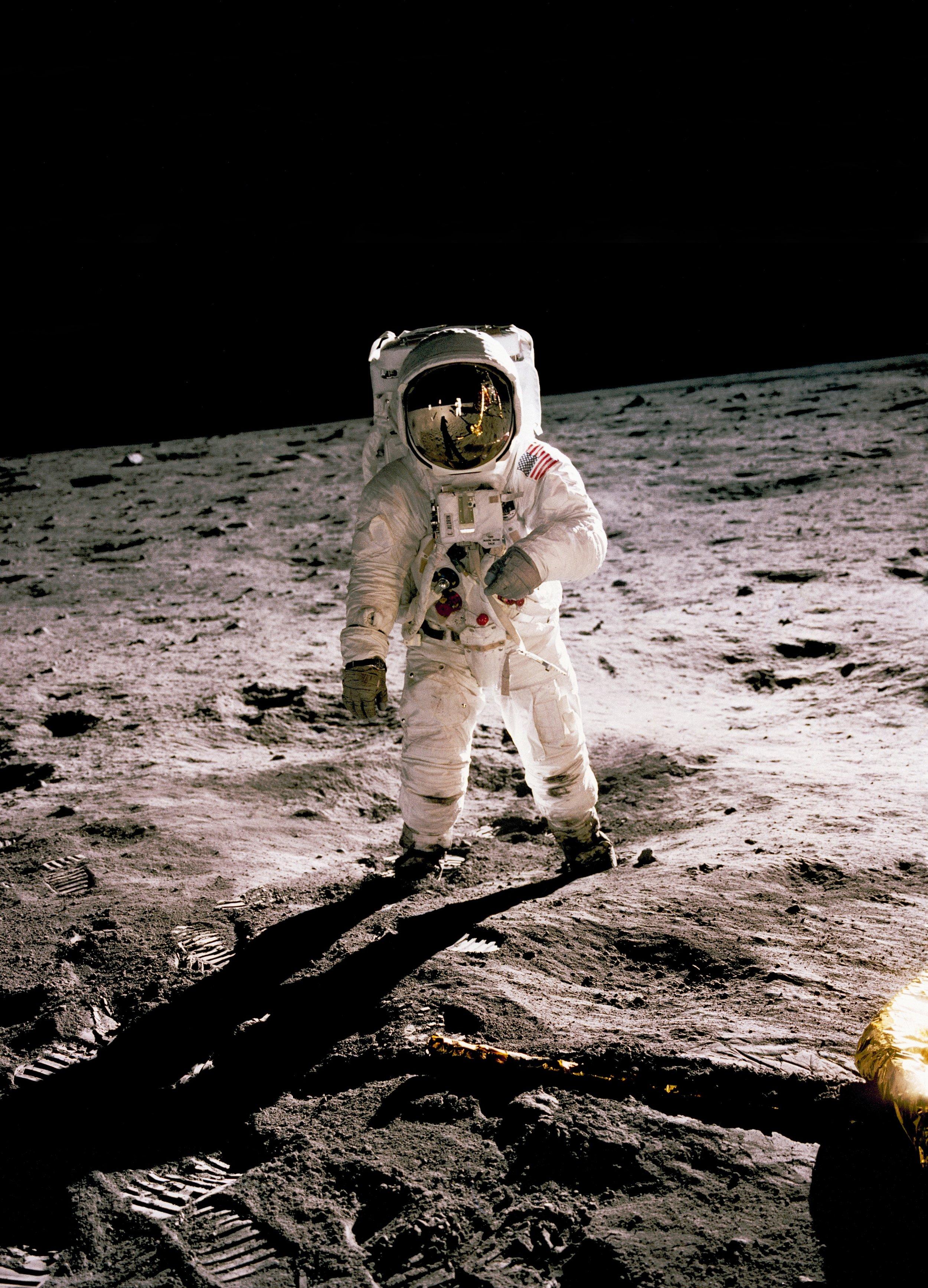 "Edwin ""Buzz"" Aldrin on the lunar surface on Apollo 11"