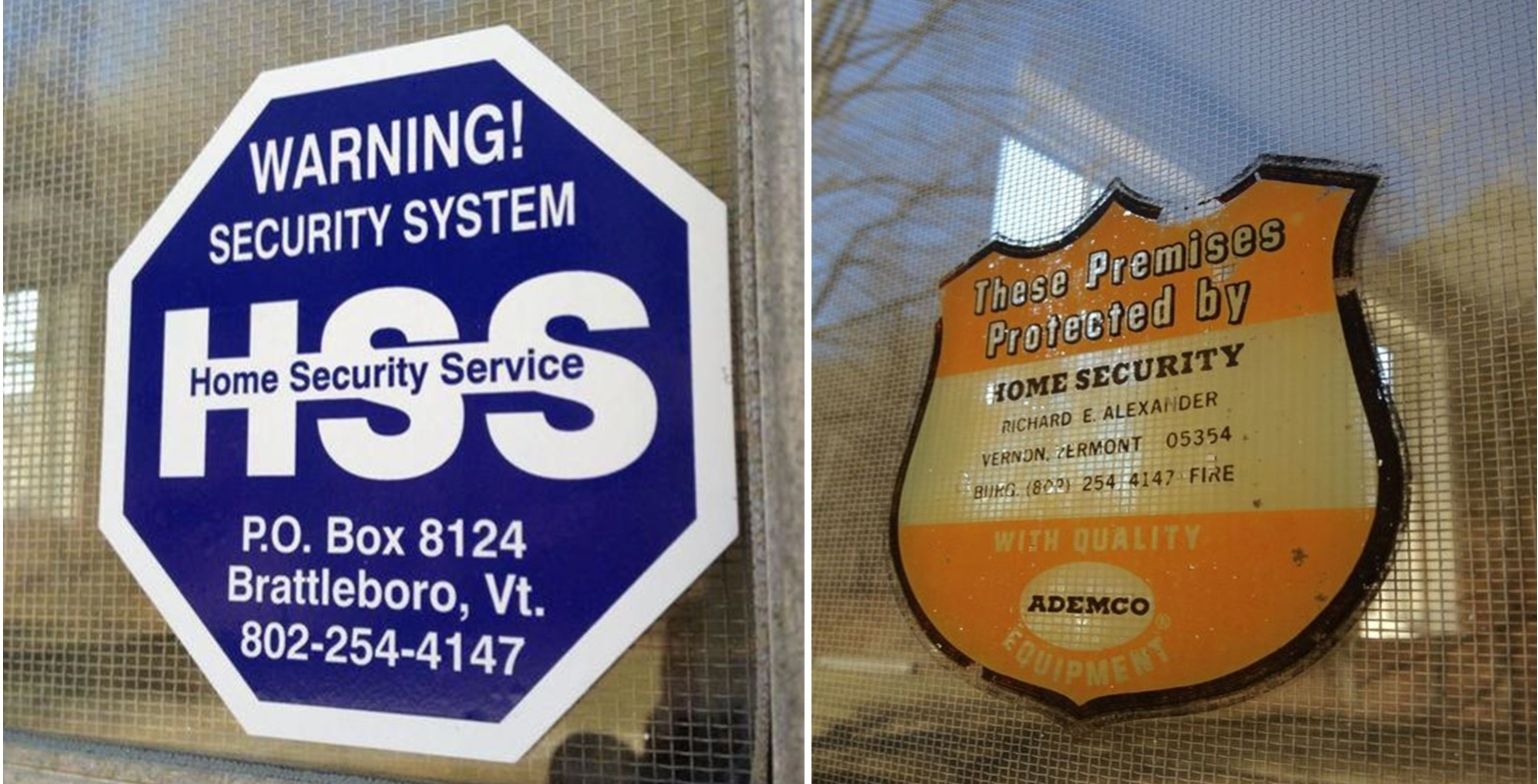 Home Security Services' window decal they use today and one of their originals from the 70's.