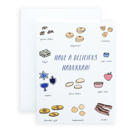 Simply Gifted:   Classy Hanukkah card by Paula and Waffle.