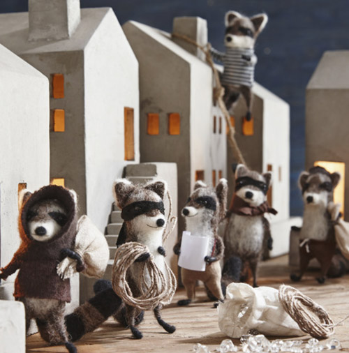Simply Gifted:  Raccoon bandit ornaments by Roost.