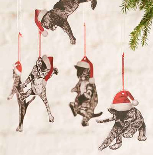 Simply Gifted:  Falling cats ornament by Urban Outfitters.