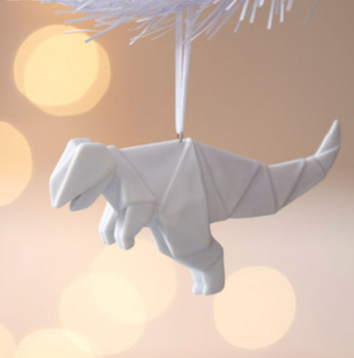 Simply Gifted:  Porcelain origami dinosaur ornament by Spruce.