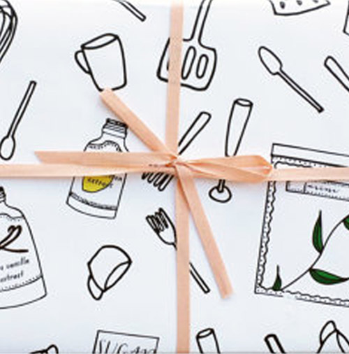Simply Gifted:  Wrapping paper from Paula and Waffle.