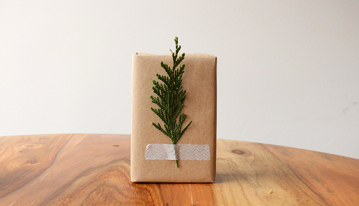 Simply Gifted:  Easy gift wrapping idea using brown paper, wash tape and pine clippings.