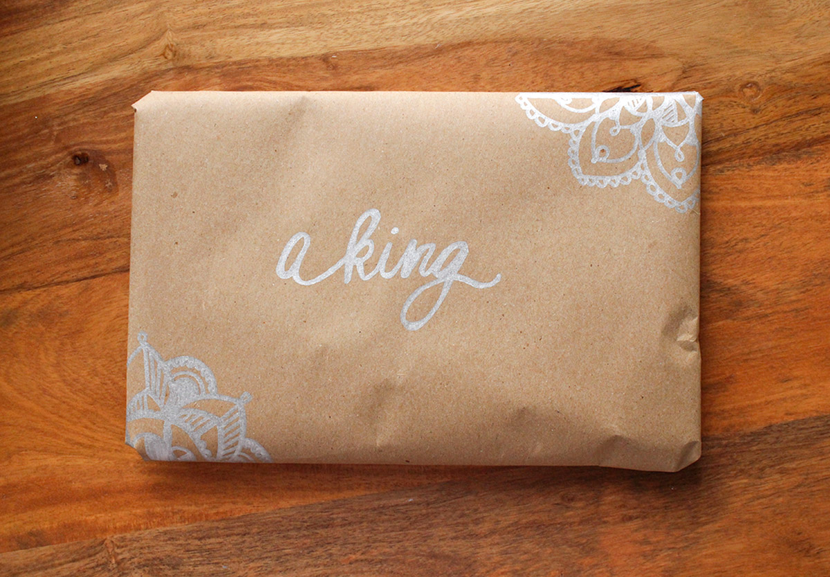 Simply Gifted:  Easy gift wrapping idea using brown paper and metallic sharpies.