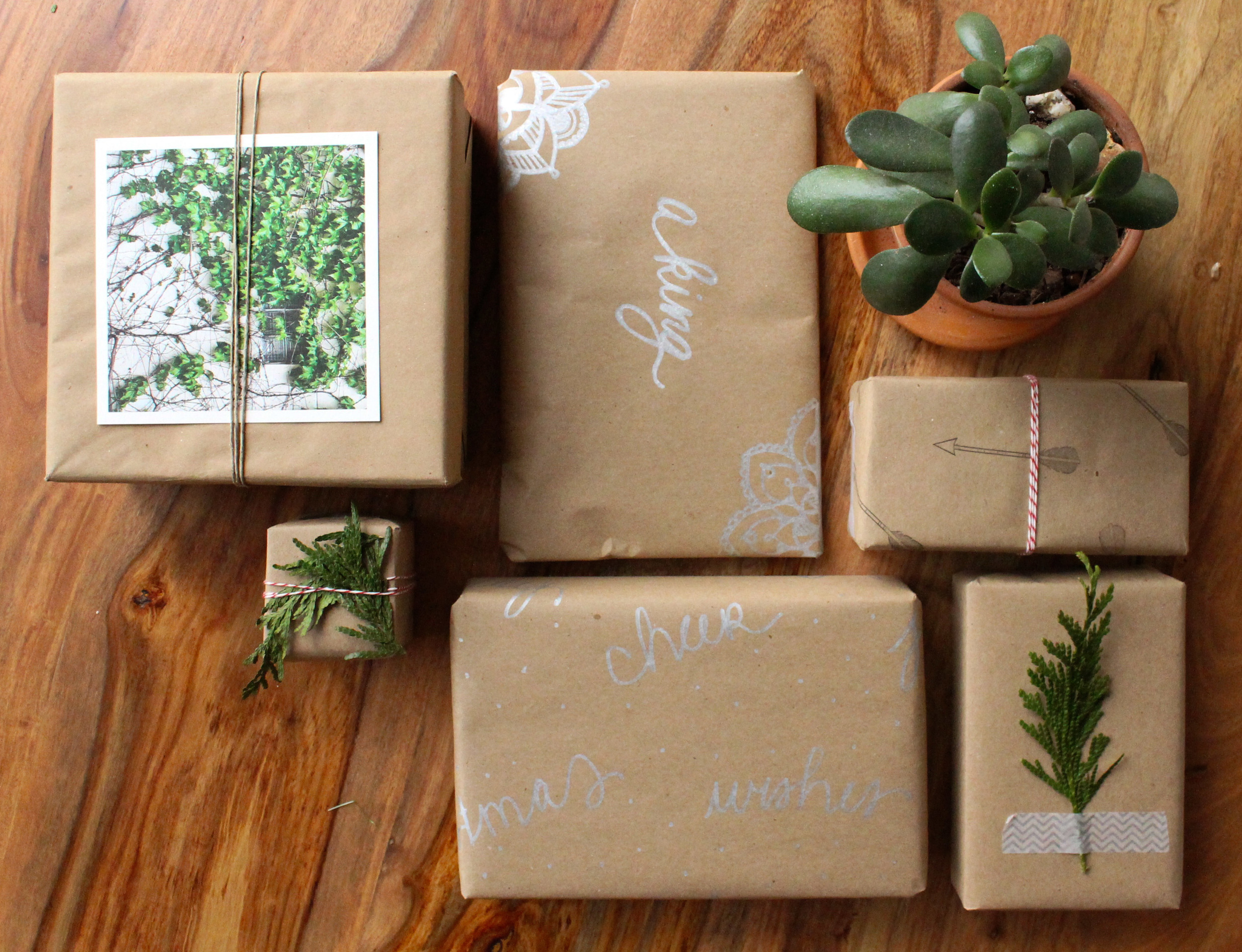 Simply Gifted:  6 Simple and easy gift wrapping ideas using brown paper.
