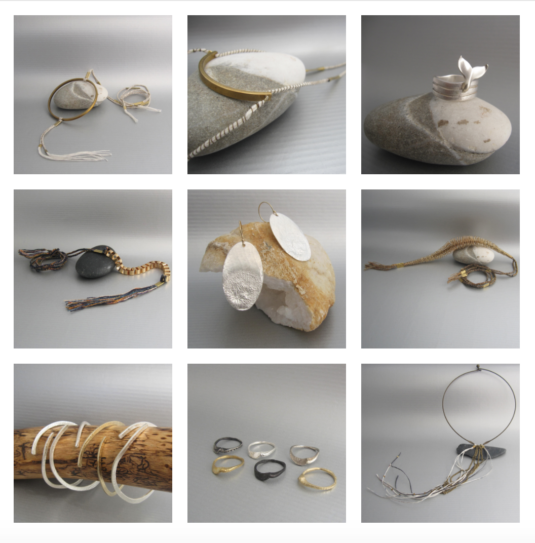 Different handmade and one of a kind jewelry pieces from Maddalena Bearzi textile and metal collections showcased in the  IAMTHELAB
