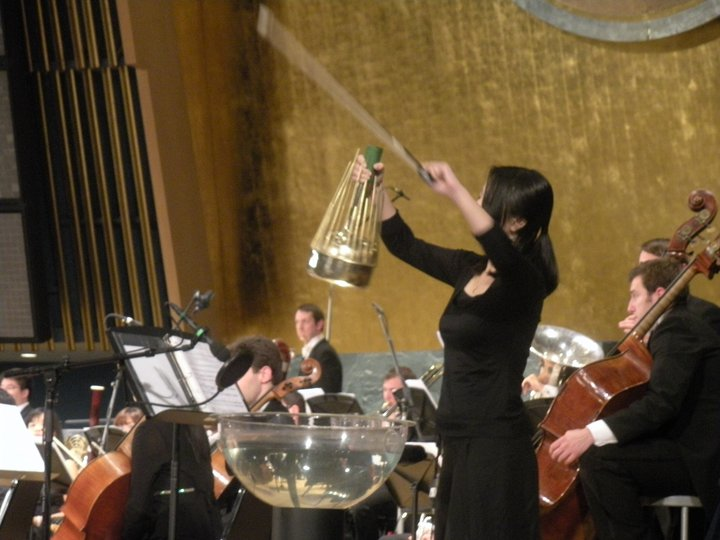 """Playing Tan Dun's """"Water Concerto"""" at the United Nation."""