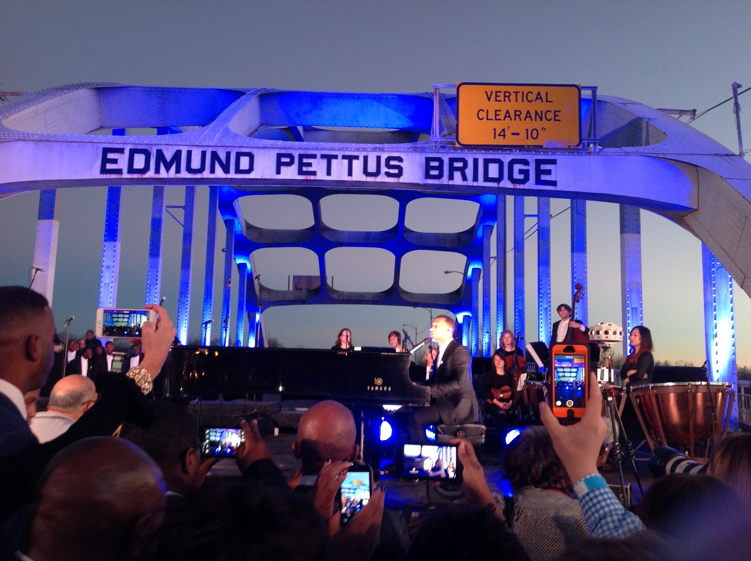 """Glory"" performance with John Legend and Common celebrating Martin Luther King day on Edmund Pettus Bridge in Montgomery, AL"