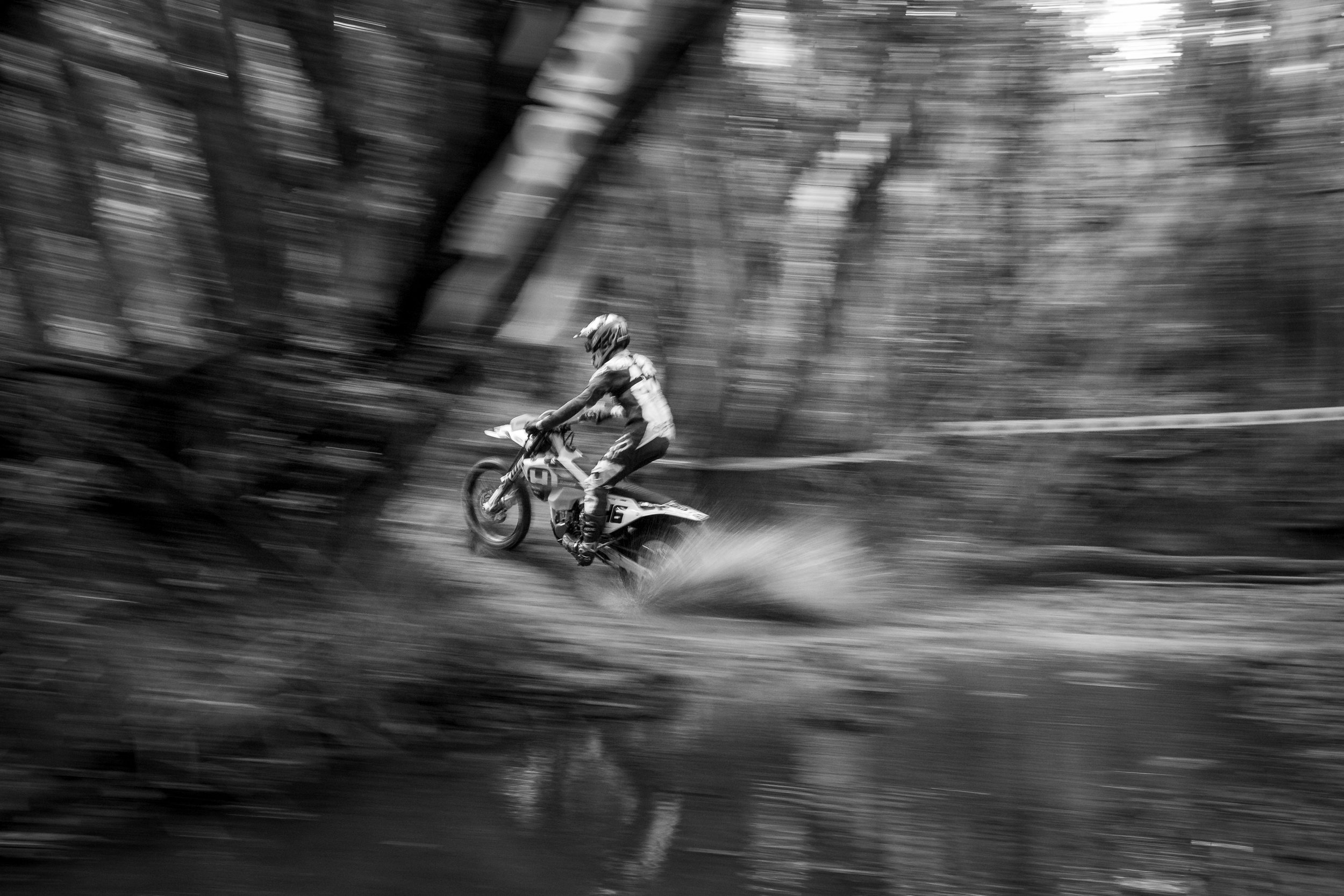 Lachlan Stanford #46  blasting through a creek at the last  Transmoto  of the year in Stroud, NSW