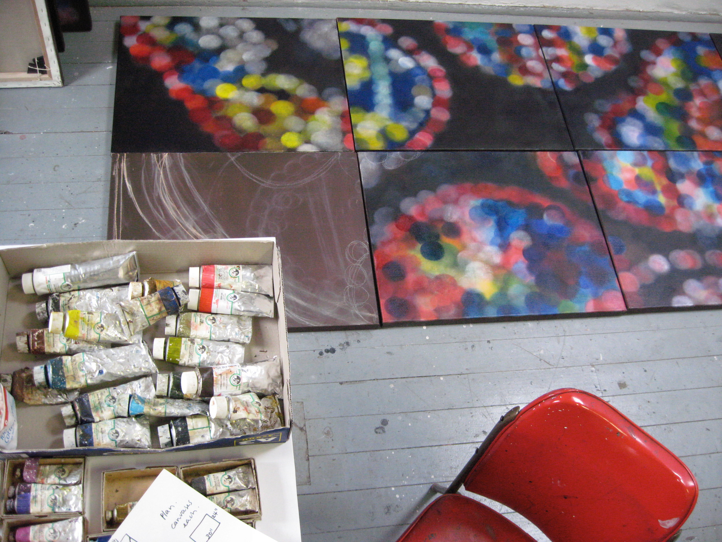 Newtown studio view, work in progress, Sainte Chapelle, 2008
