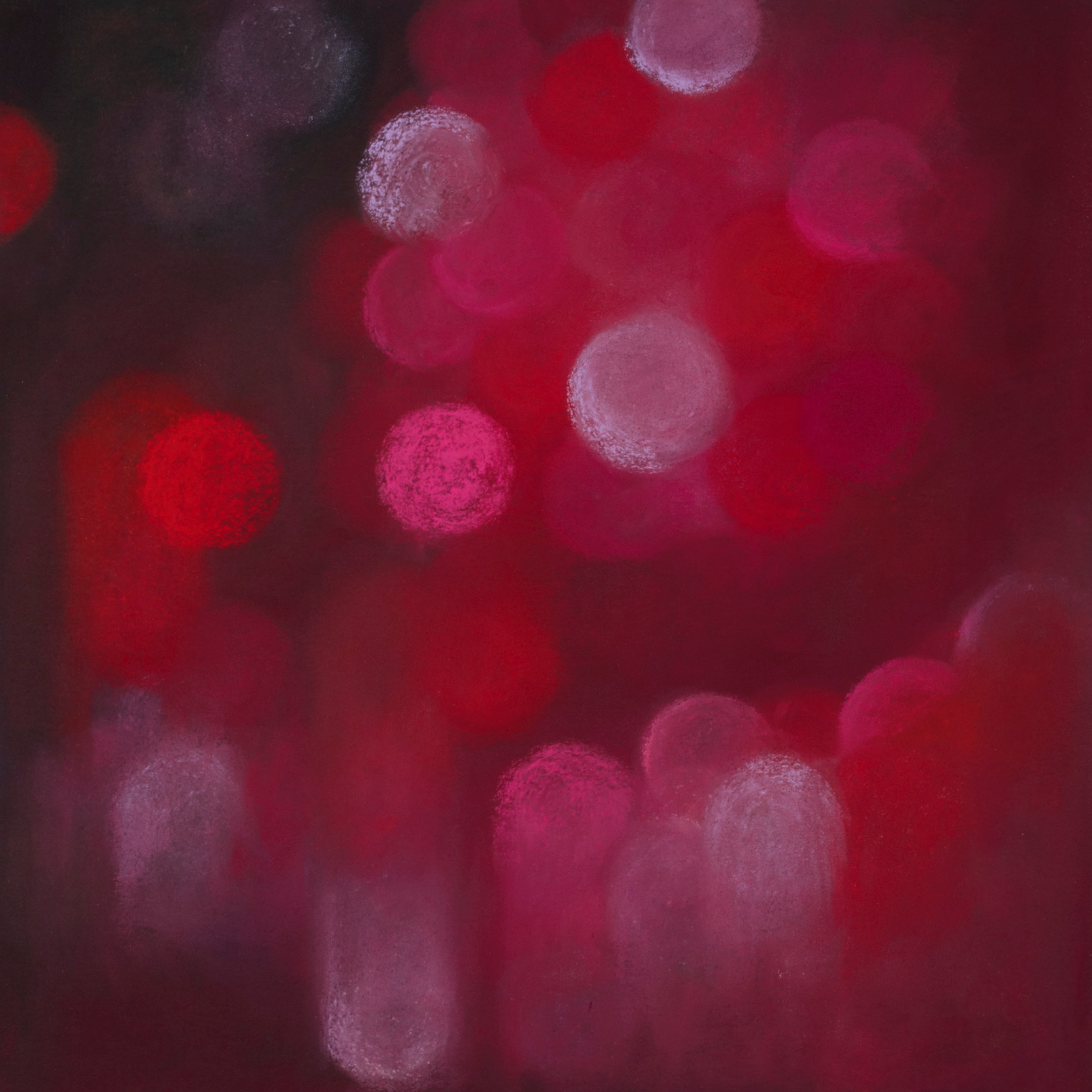 Cerise glow, 2009, pastel on paper, 40.5x 40.5cm