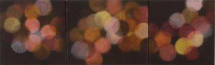 La lumière artificielle éclairage rouge, 2006/07, oil on linen, 31x 100cm (tritych)