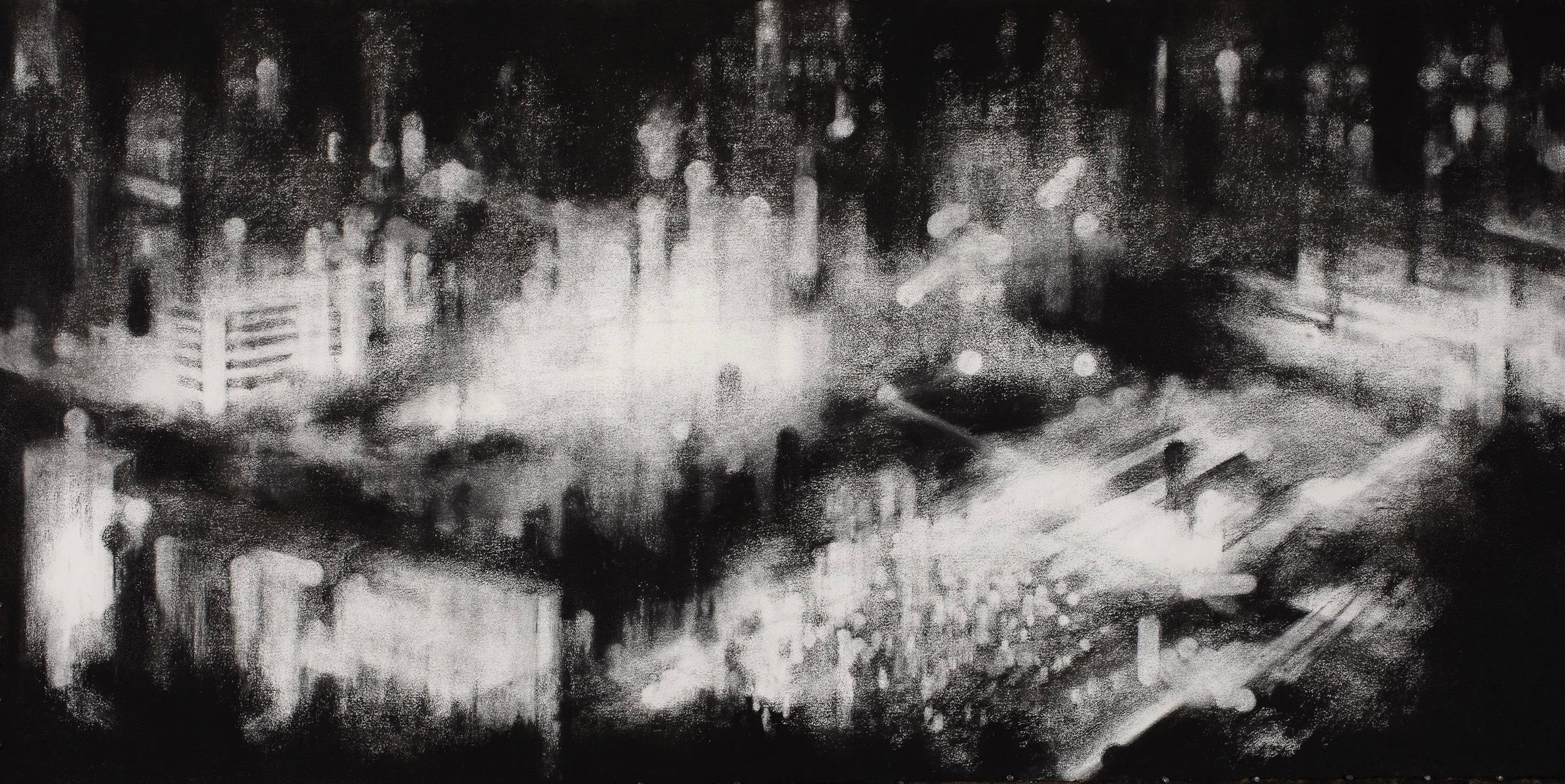 Shibuya lights, 2011 1460x2630 charcoal on paper