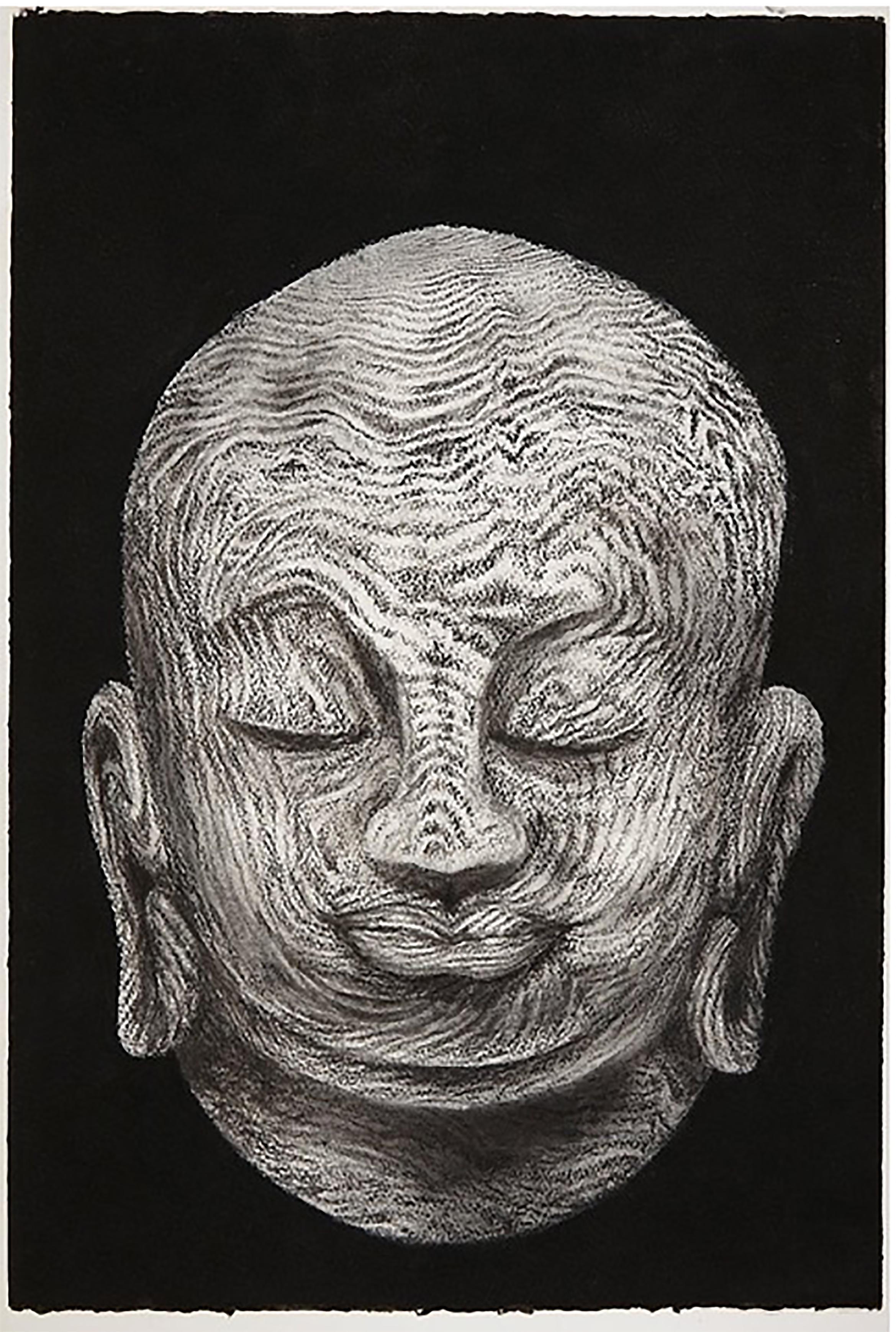 Buddha head 2, 2015, 57x38cm, charcoal on paper