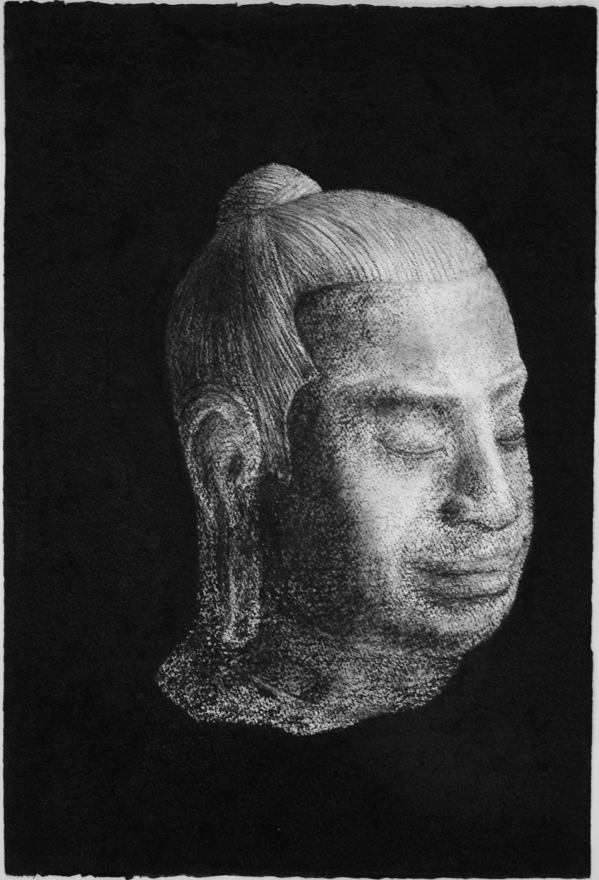 Buddha head 1, 2015, 57x38cm, charcoal on paper