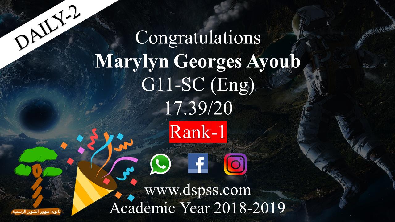 Top-1 Daily-2 2019 Marylyn Ayoub