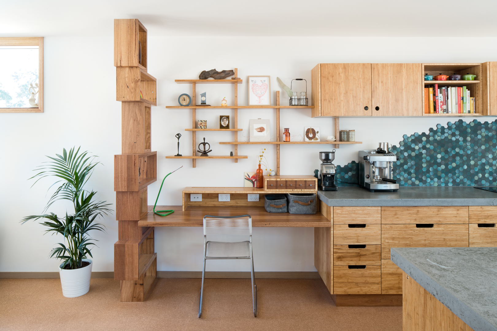 Joinery By Select Custom Joinery: Custom Kitchen with Sustainable materials and finishes including; Reclaimed Hardwood Shelving, plywood and bamboo cabinets with Natural Oil finishes.  Photography by Charlie Kinross