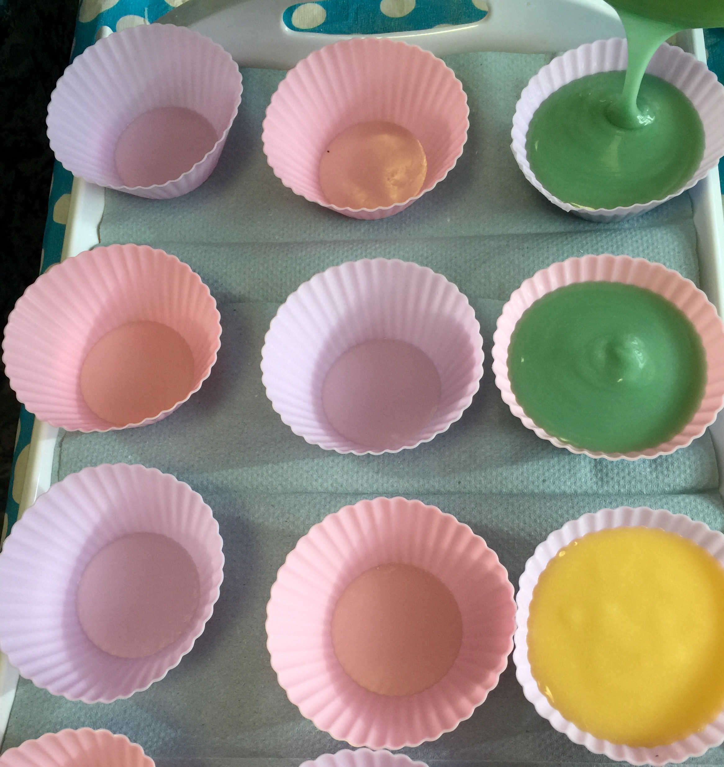 Soaps from week 2 with yellow and green dyes