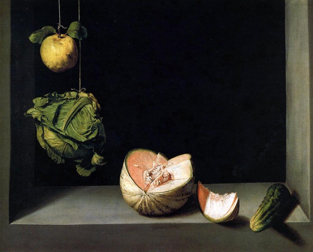 Quince, Cabbage, Melon and Cucumber, c1602 (290 cm x 239 cm), Juan Sanchez Cotan